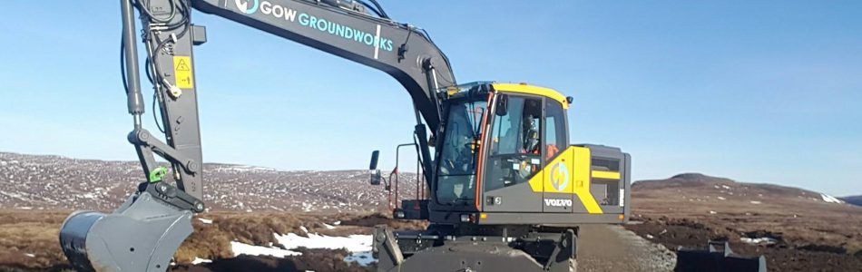 Volvo EW160E working at Stronelairg Wind Farm for RJ Macleod.